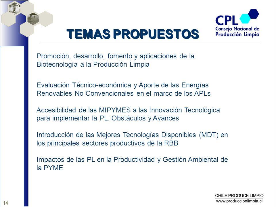 14 TEMAS PROPUESTOS Promoción, desarrollo, fomento y aplicaciones de la Biotecnología a la Producción Limpia Evaluación Técnico-económica y Aporte de