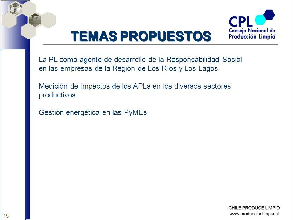15 TEMAS PROPUESTOS La PL como agente de desarrollo de la Responsabilidad Social en las empresas de la Región de Los Ríos y Los Lagos. Medición de Imp