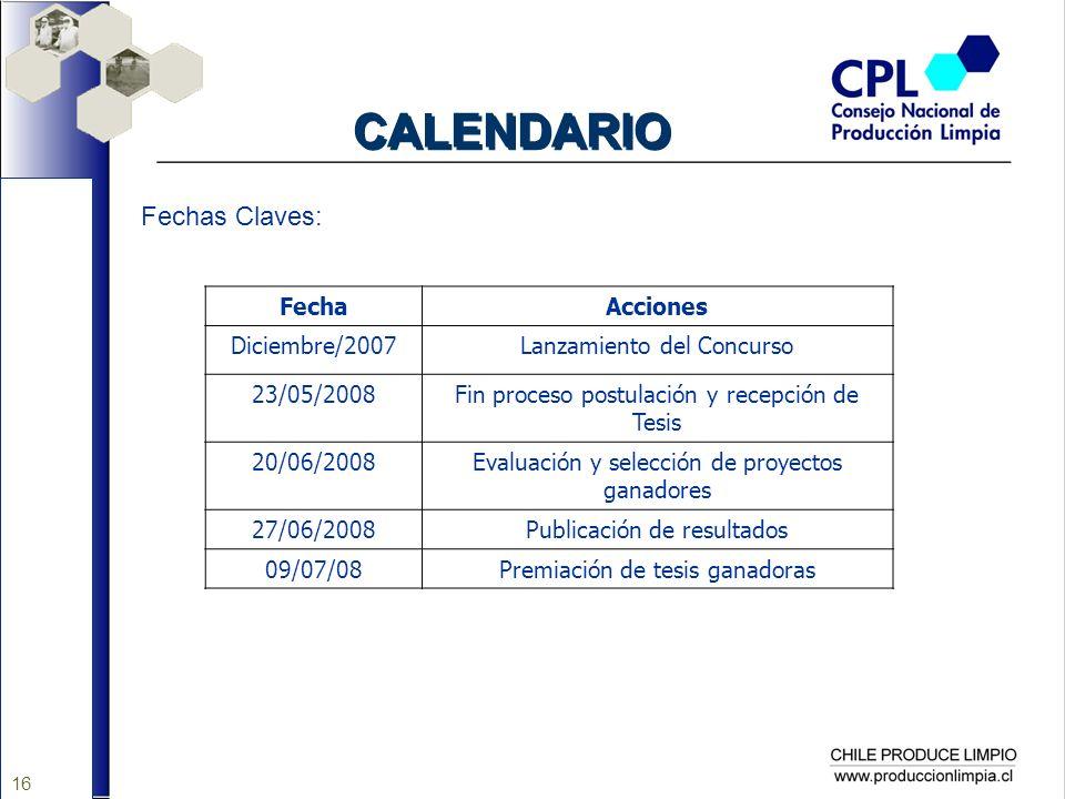 16 CALENDARIO Fechas Claves: FechaAcciones Diciembre/2007Lanzamiento del Concurso 23/05/2008Fin proceso postulación y recepción de Tesis 20/06/2008Eva