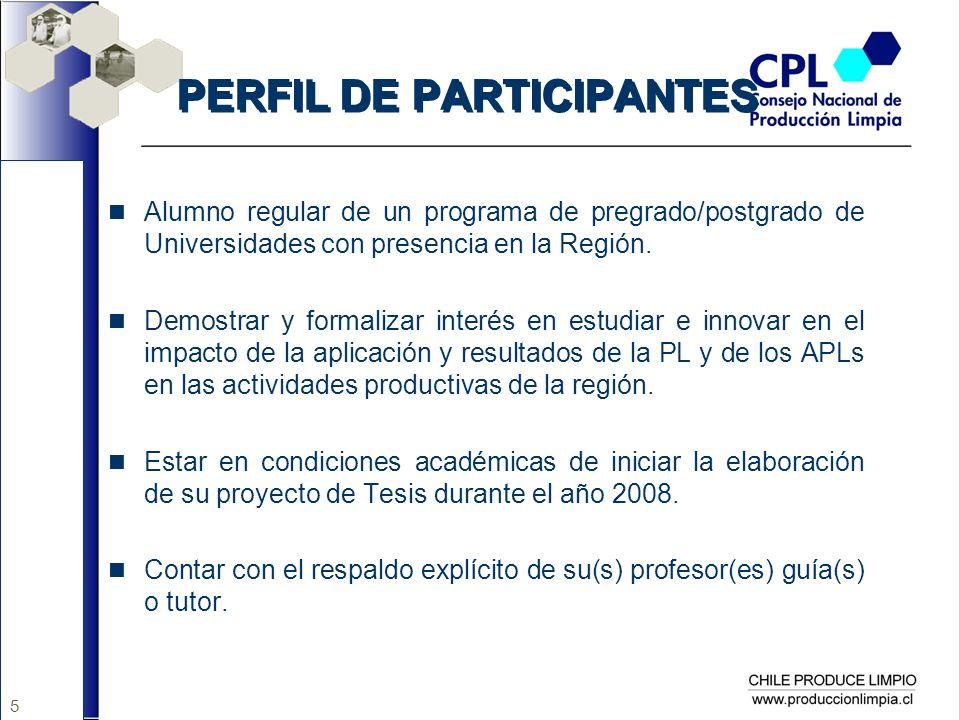 5 PERFIL DE PARTICIPANTES Alumno regular de un programa de pregrado/postgrado de Universidades con presencia en la Región. Demostrar y formalizar inte