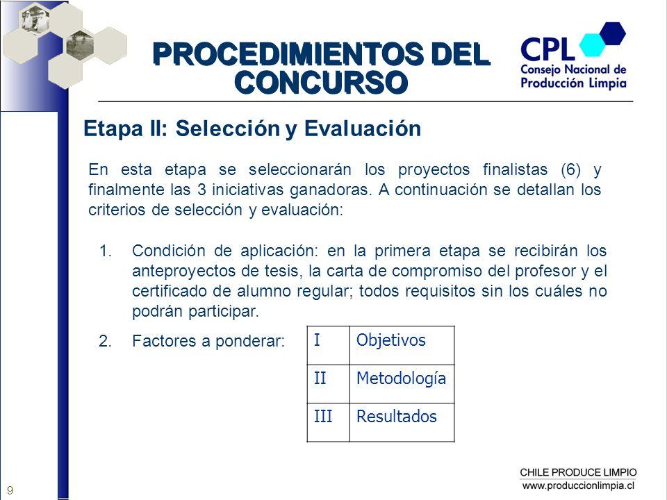 9 PROCEDIMIENTOS DEL CONCURSO Etapa II: Selección y Evaluación En esta etapa se seleccionarán los proyectos finalistas (6) y finalmente las 3 iniciati