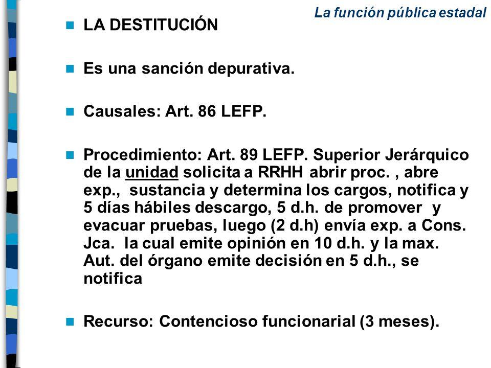 LA DESTITUCIÓN Es una sanción depurativa. Causales: Art. 86 LEFP. Procedimiento: Art. 89 LEFP. Superior Jerárquico de la unidad solicita a RRHH abrir