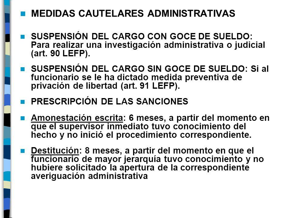 MEDIDAS CAUTELARES ADMINISTRATIVAS SUSPENSIÓN DEL CARGO CON GOCE DE SUELDO: Para realizar una investigación administrativa o judicial (art. 90 LEFP).