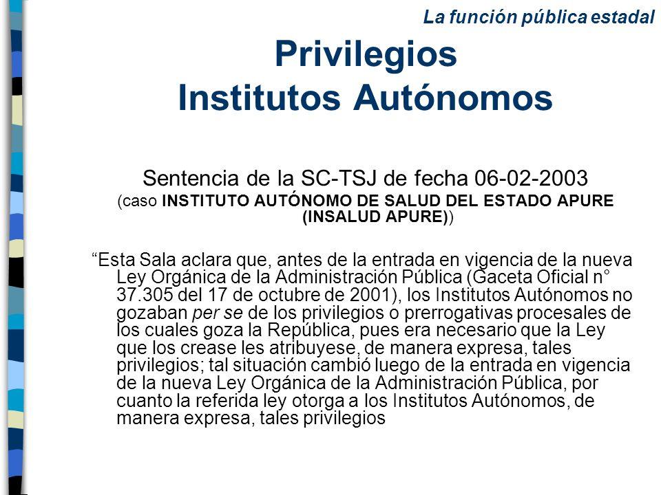 Privilegios Institutos Autónomos Sentencia de la SC-TSJ de fecha 06-02-2003 (caso INSTITUTO AUTÓNOMO DE SALUD DEL ESTADO APURE (INSALUD APURE)) Esta S