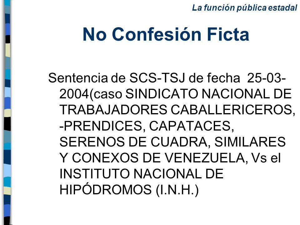 No Confesión Ficta Sentencia de SCS-TSJ de fecha 25-03- 2004(caso SINDICATO NACIONAL DE TRABAJADORES CABALLERICEROS, -PRENDICES, CAPATACES, SERENOS DE
