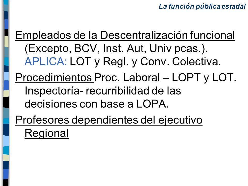 Empleados de la Descentralización funcional (Excepto, BCV, Inst. Aut, Univ pcas.). APLICA: LOT y Regl. y Conv. Colectiva. Procedimientos Proc. Laboral