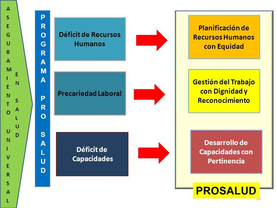 Déficit de Recursos Humanos Planificación de Recursos Humanos con Equidad Precariedad Laboral Gestión del Trabajo con Dignidad y Reconocimiento Défici