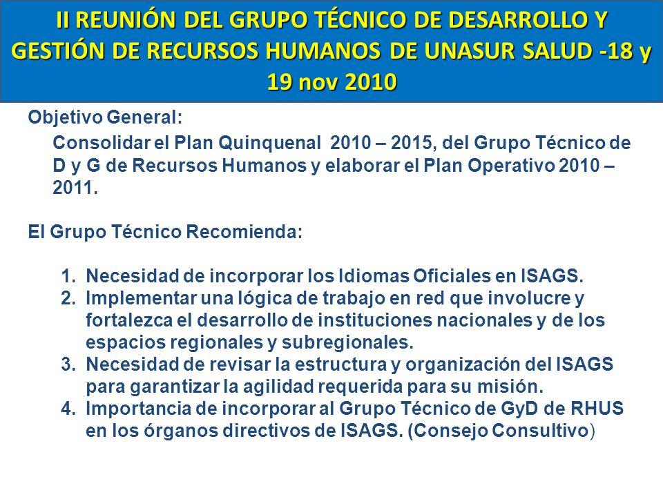 Objetivo General: Consolidar el Plan Quinquenal 2010 – 2015, del Grupo Técnico de D y G de Recursos Humanos y elaborar el Plan Operativo 2010 – 2011.