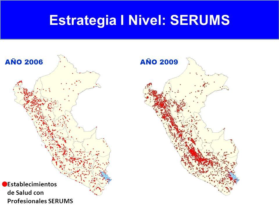 Estrategia I Nivel: SERUMS AÑO 2006AÑO 2009 Establecimientos de Salud con Profesionales SERUMS