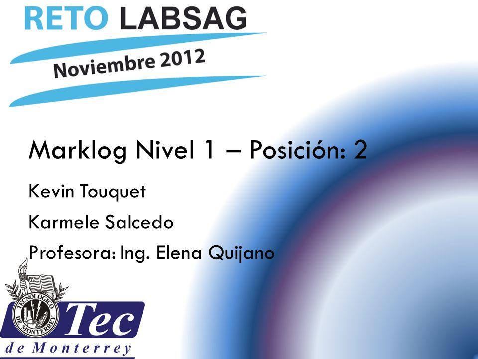 Marklog Nivel 1 – Posición: 2 Kevin Touquet Karmele Salcedo Profesora: Ing. Elena Quijano