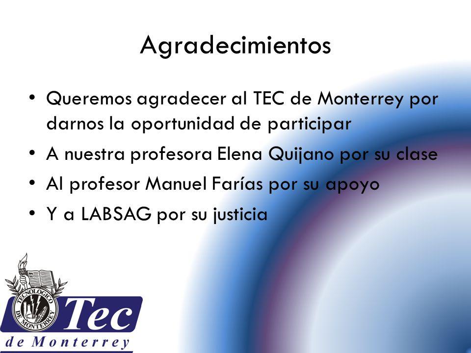 Agradecimientos Queremos agradecer al TEC de Monterrey por darnos la oportunidad de participar A nuestra profesora Elena Quijano por su clase Al profe