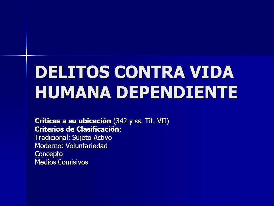 DELITOS CONTRA VIDA HUMANA DEPENDIENTE Críticas a su ubicación (342 y ss. Tit. VII) Criterios de Clasificación: Tradicional: Sujeto Activo Moderno: Vo