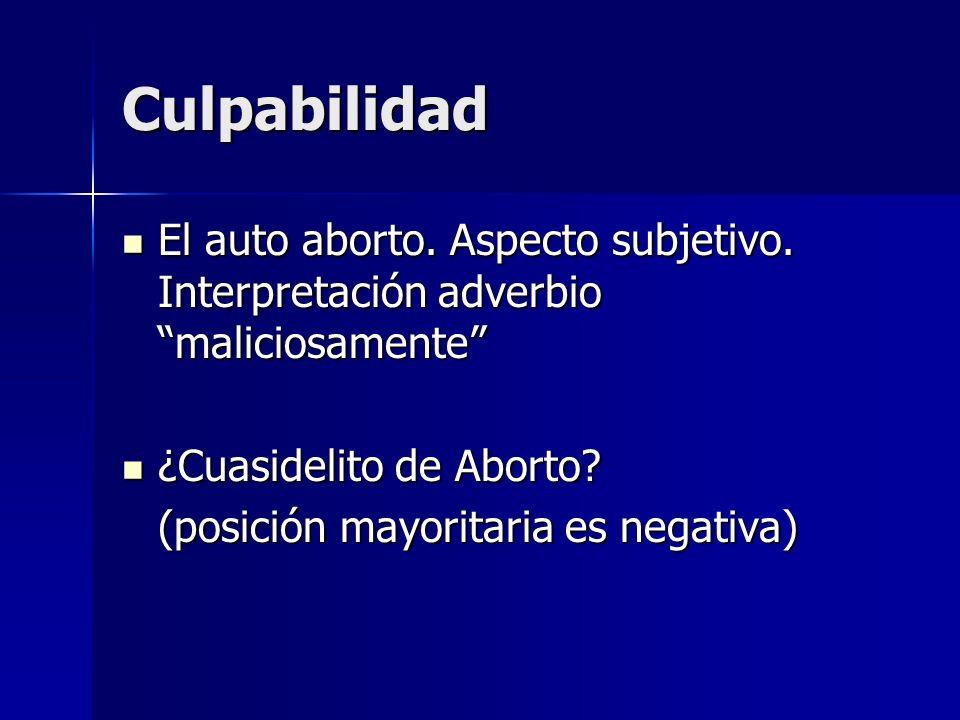 Culpabilidad El auto aborto. Aspecto subjetivo. Interpretación adverbio maliciosamente El auto aborto. Aspecto subjetivo. Interpretación adverbio mali