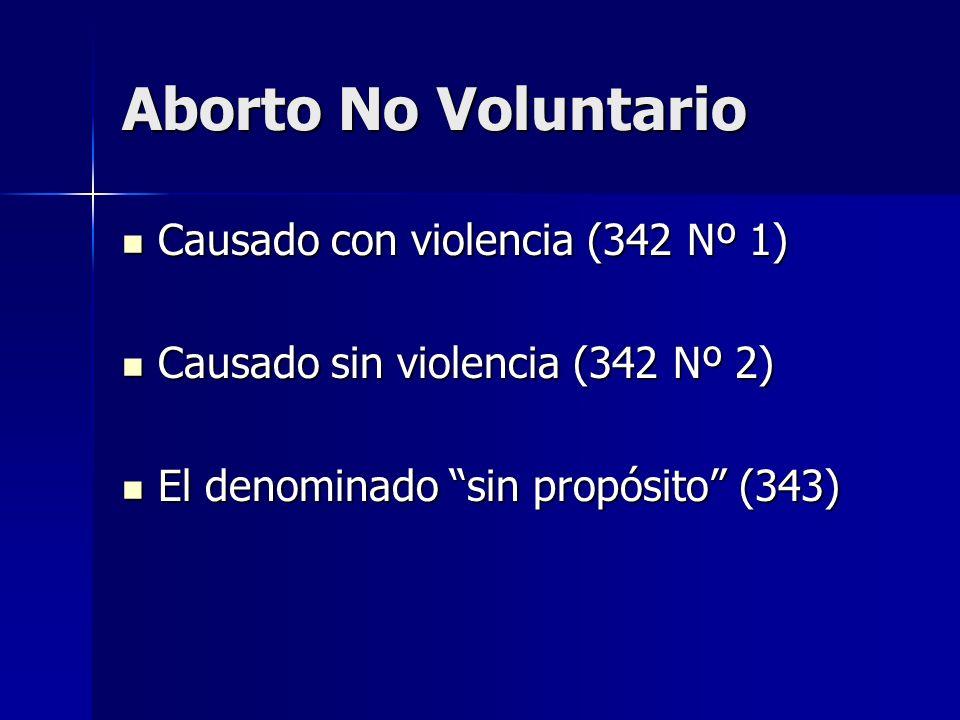 Aborto No Voluntario Causado con violencia (342 Nº 1) Causado con violencia (342 Nº 1) Causado sin violencia (342 Nº 2) Causado sin violencia (342 Nº