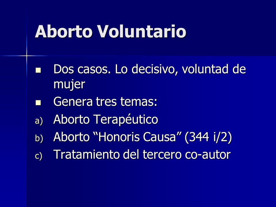 Aborto Voluntario Dos casos. Lo decisivo, voluntad de mujer Dos casos. Lo decisivo, voluntad de mujer Genera tres temas: Genera tres temas: a) Aborto