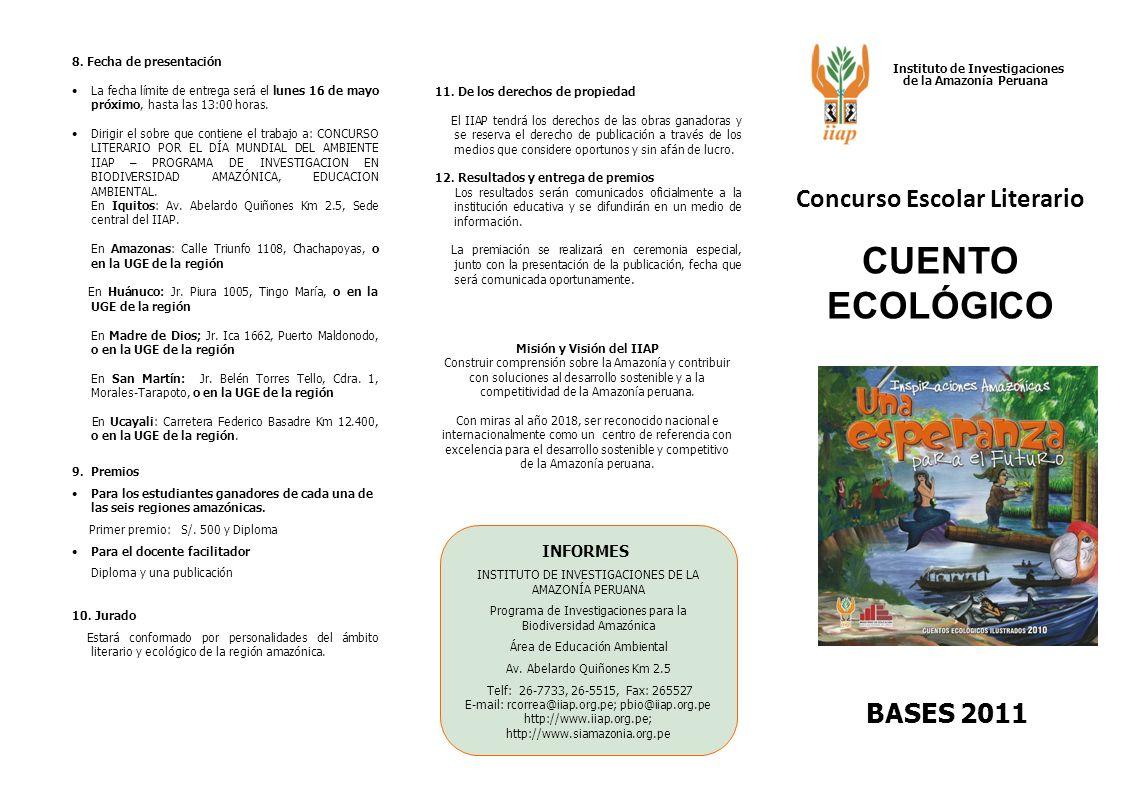 CONCURSO LITERARIO 1.Objetivos Motivar la participación de la comunidad estudiantil en las actividades conmemorativas del Día Mundial del Ambiente y del Año Internacional de los Bosques Promover conciencia ambiental en la juventud sobre la conservación y valoración del ambiente, y en particular de los bosques.