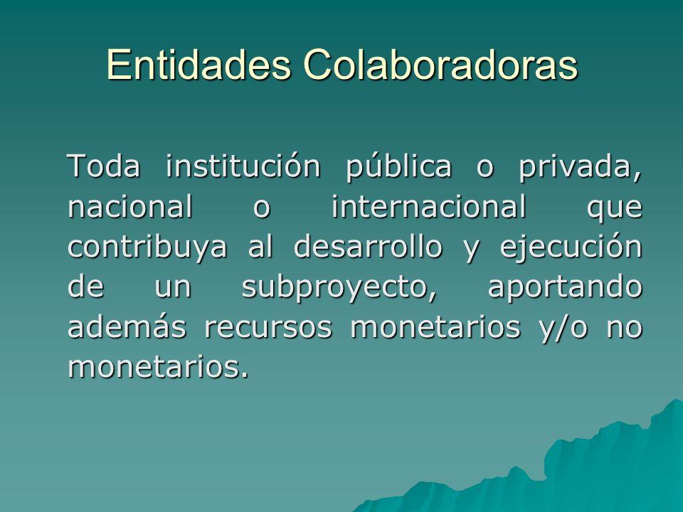 Entidades Colaboradoras Toda institución pública o privada, nacional o internacional que contribuya al desarrollo y ejecución de un subproyecto, aportando además recursos monetarios y/o no monetarios.