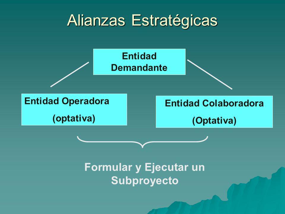 Alianzas Estratégicas Entidad Operadora (optativa) Entidad Demandante Entidad Colaboradora (Optativa) Formular y Ejecutar un Subproyecto