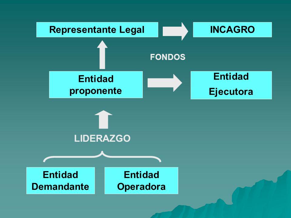 Entidad proponente Entidad Ejecutora FONDOS LIDERAZGO Entidad Demandante Entidad Operadora Representante LegalINCAGRO