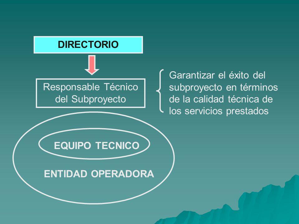 Responsable Técnico del Subproyecto DIRECTORIO EQUIPO TECNICO ENTIDAD OPERADORA Garantizar el éxito del subproyecto en términos de la calidad técnica de los servicios prestados