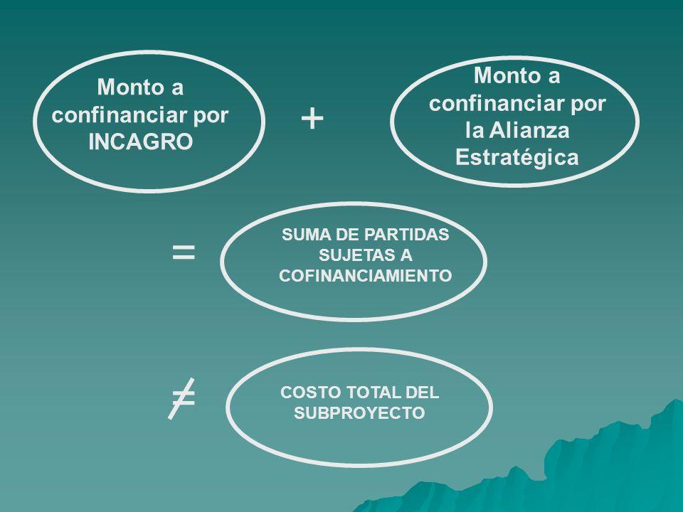 Monto a confinanciar por INCAGRO Monto a confinanciar por la Alianza Estratégica SUMA DE PARTIDAS SUJETAS A COFINANCIAMIENTO + = COSTO TOTAL DEL SUBPROYECTO =