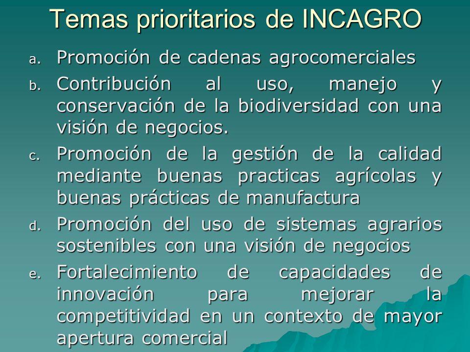Temas prioritarios de INCAGRO a. Promoción de cadenas agrocomerciales b.