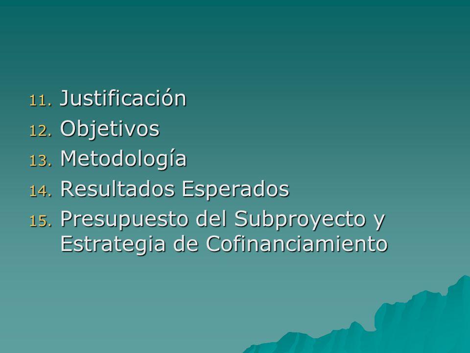 11. Justificación 12. Objetivos 13. Metodología 14.