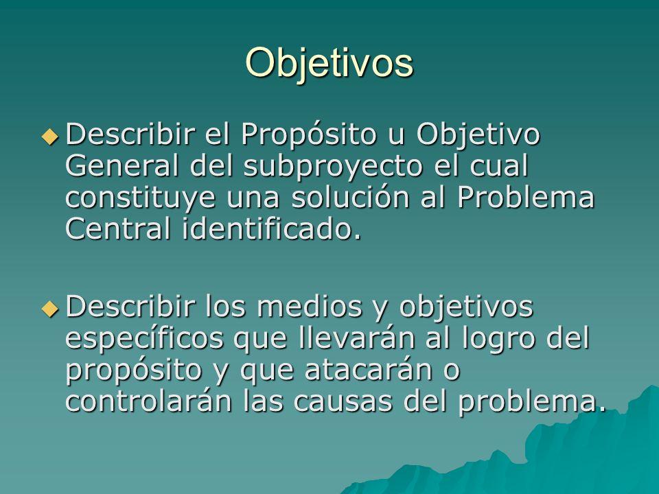 Objetivos Describir el Propósito u Objetivo General del subproyecto el cual constituye una solución al Problema Central identificado.