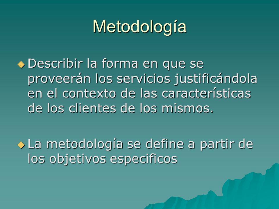 Metodología Describir la forma en que se proveerán los servicios justificándola en el contexto de las características de los clientes de los mismos.