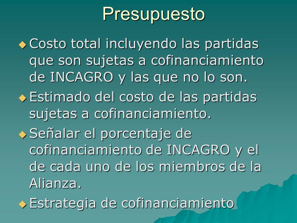 Presupuesto Costo total incluyendo las partidas que son sujetas a cofinanciamiento de INCAGRO y las que no lo son.
