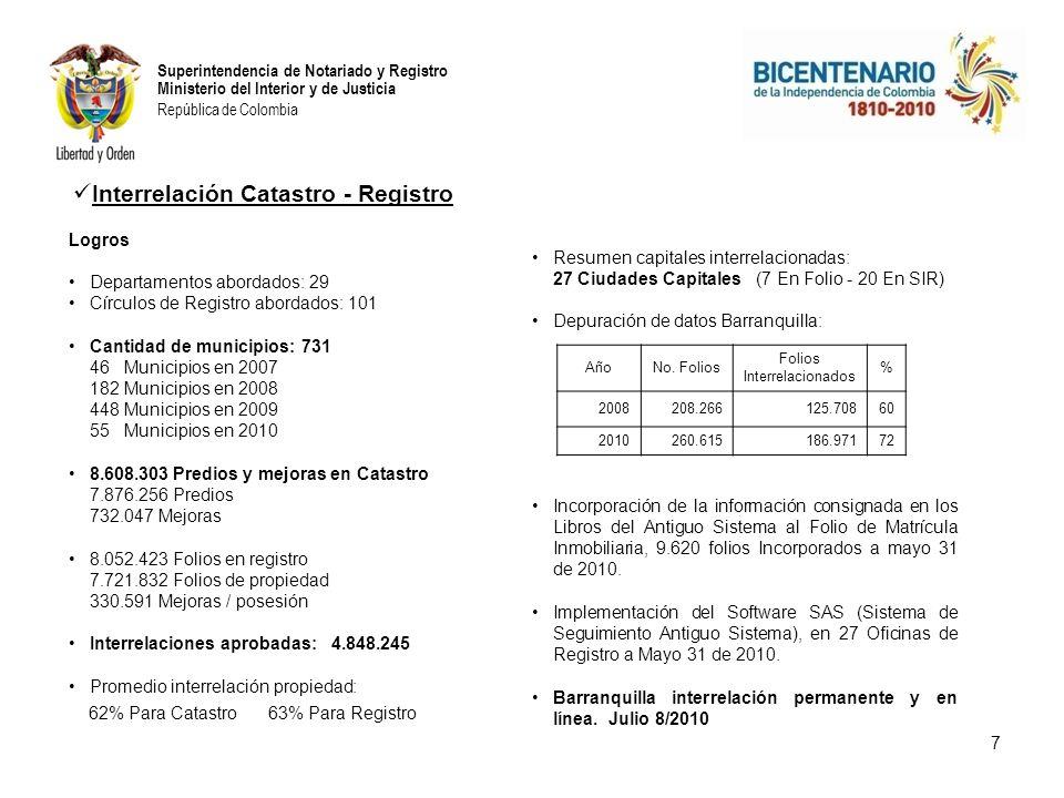 Superintendencia de Notariado y Registro Ministerio del Interior y de Justicia República de Colombia Logros Departamentos abordados: 29 Círculos de Registro abordados: 101 Cantidad de municipios: 731 46 Municipios en 2007 182 Municipios en 2008 448 Municipios en 2009 55 Municipios en 2010 8.608.303 Predios y mejoras en Catastro 7.876.256 Predios 732.047 Mejoras 8.052.423 Folios en registro 7.721.832 Folios de propiedad 330.591 Mejoras / posesión Interrelaciones aprobadas: 4.848.245 Promedio interrelación propiedad: 62% Para Catastro 63% Para Registro 7 Resumen capitales interrelacionadas: 27 Ciudades Capitales (7 En Folio - 20 En SIR) Depuración de datos Barranquilla: Incorporación de la información consignada en los Libros del Antiguo Sistema al Folio de Matrícula Inmobiliaria, 9.620 folios Incorporados a mayo 31 de 2010.