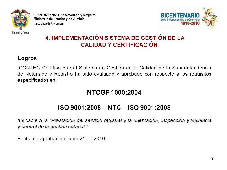 Superintendencia de Notariado y Registro Ministerio del Interior y de Justicia República de Colombia 9 4. IMPLEMENTACIÓN SISTEMA DE GESTIÓN DE LA CALI