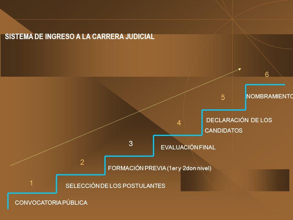 SISTEMA DE INGRESO A LA CARRERA JUDICIAL CONVOCATORIA PÚBLICA SELECCIÓN DE LOS POSTULANTES FORMACIÓN PREVIA (1er y 2don nivel) EVALUACIÓN FINAL DECLAR