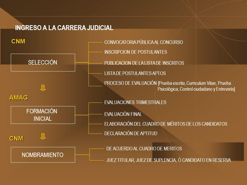 INGRESO A LA CARRERA JUDICIAL SELECCIÓN NOMBRAMIENTO FORMACIÓN INICIAL CONVOCATORIA PÚBLICA AL CONCURSO CNM AMAG CNM INSCRIPCION DE POSTULANTES PUBLIC