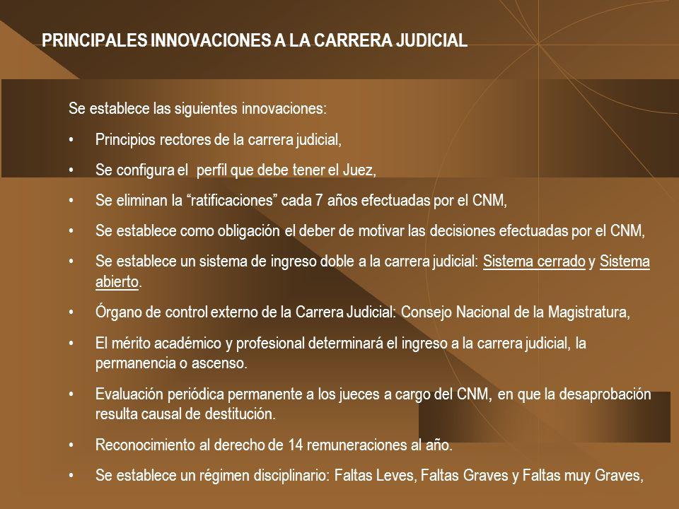 PRINCIPALES INNOVACIONES A LA CARRERA JUDICIAL Se establece las siguientes innovaciones: Principios rectores de la carrera judicial, Se configura el p