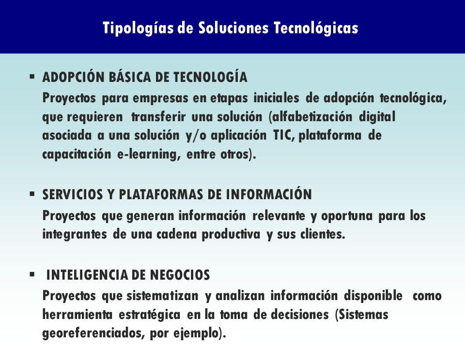 ADOPCIÓN BÁSICA DE TECNOLOGÍA Proyectos para empresas en etapas iniciales de adopción tecnológica, que requieren transferir una solución (alfabetizaci
