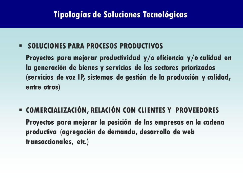 SOLUCIONES PARA PROCESOS PRODUCTIVOS Proyectos para mejorar productividad y/o eficiencia y/o calidad en la generación de bienes y servicios de los sec