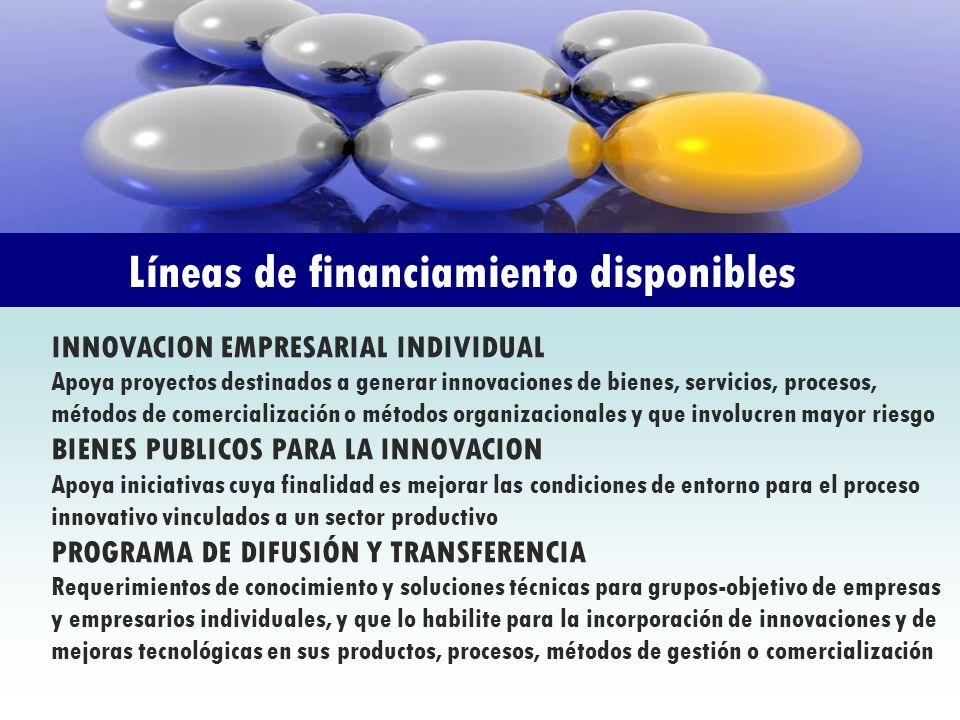 Líneas de financiamiento disponibles INNOVACION EMPRESARIAL INDIVIDUAL Apoya proyectos destinados a generar innovaciones de bienes, servicios, proceso