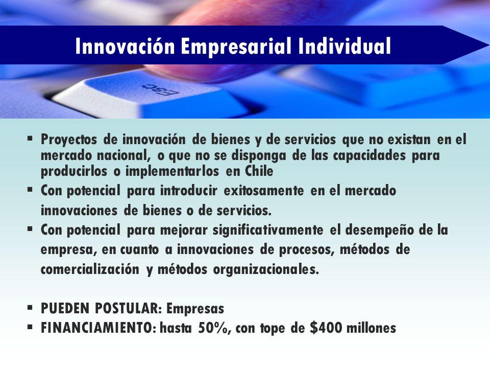 Innovación Empresarial Individual Proyectos de innovación de bienes y de servicios que no existan en el mercado nacional, o que no se disponga de las