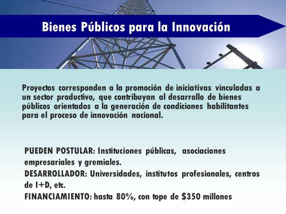 Bienes Públicos para la Innovación Proyectos corresponden a la promoción de iniciativas vinculadas a un sector productivo, que contribuyan al desarrol