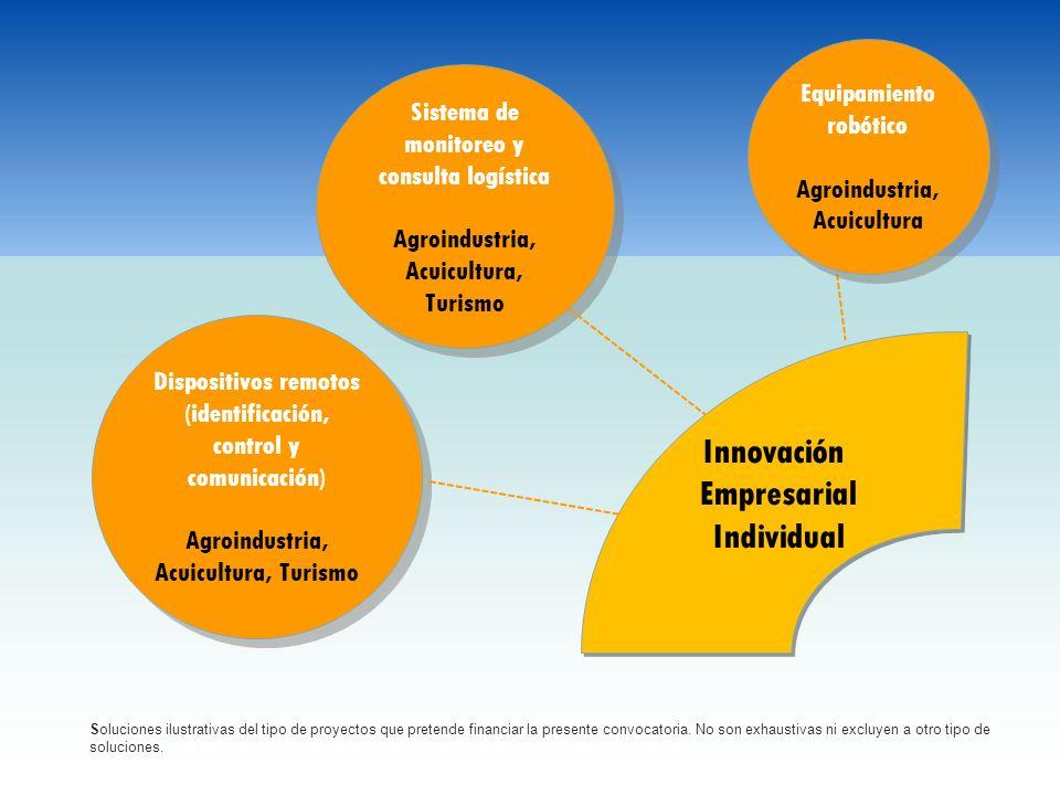 Innovación Empresarial Individual Innovación Empresarial Individual Dispositivos remotos (identificación, control y comunicación) Agroindustria, Acuic