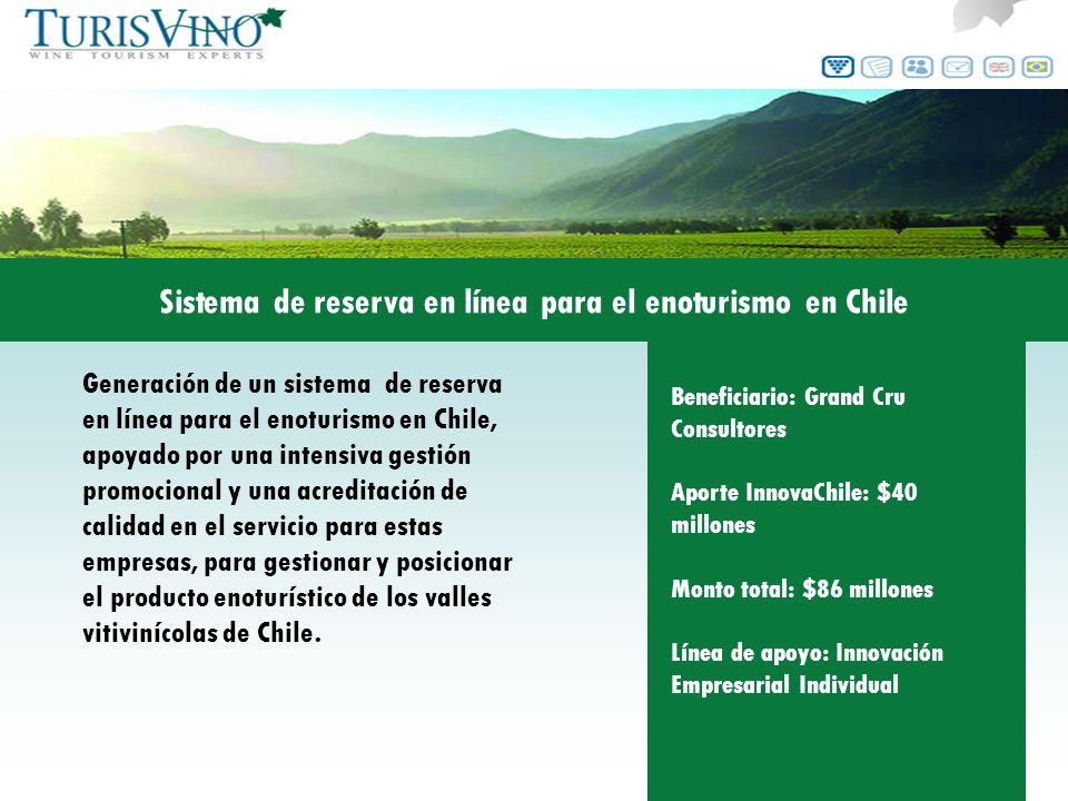 Generación de un sistema de reserva en línea para el enoturismo en Chile, apoyado por una intensiva gestión promocional y una acreditación de calidad