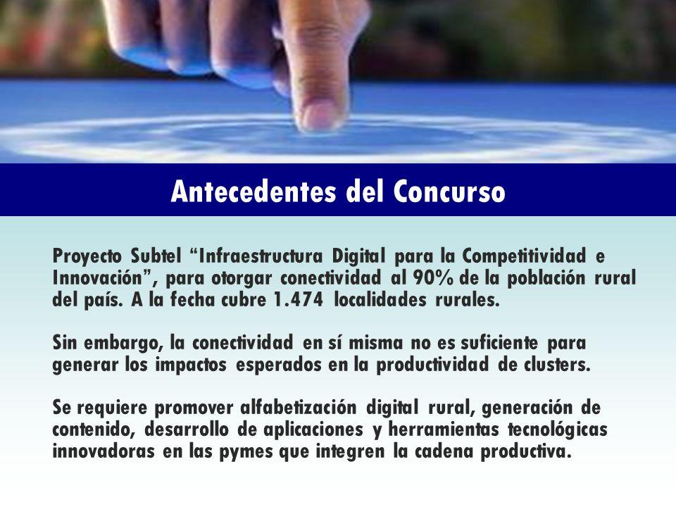 Antecedentes del Concurso Proyecto Subtel Infraestructura Digital para la Competitividad e Innovación, para otorgar conectividad al 90% de la població