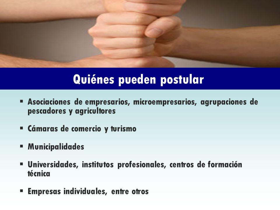 Asociaciones de empresarios, microempresarios, agrupaciones de pescadores y agricultores Cámaras de comercio y turismo Municipalidades Universidades,