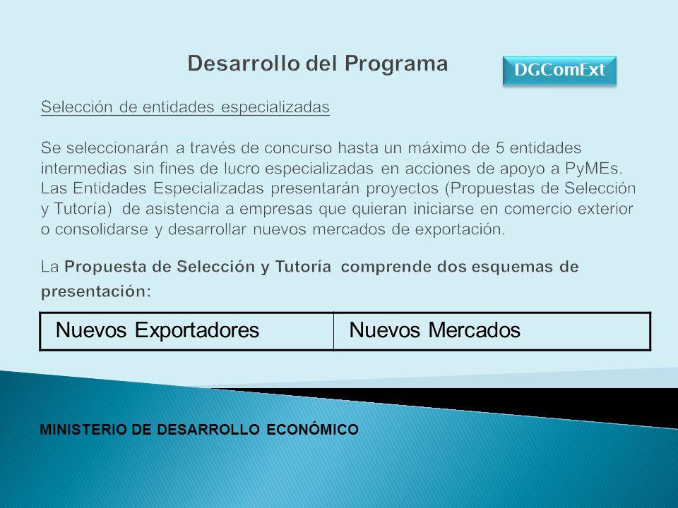 DGComExt Desarrollo del Programa Selección de entidades especializadas Se seleccionarán a través de concurso hasta un máximo de 5 entidades intermedias sin fines de lucro especializadas en acciones de apoyo a PyMEs.