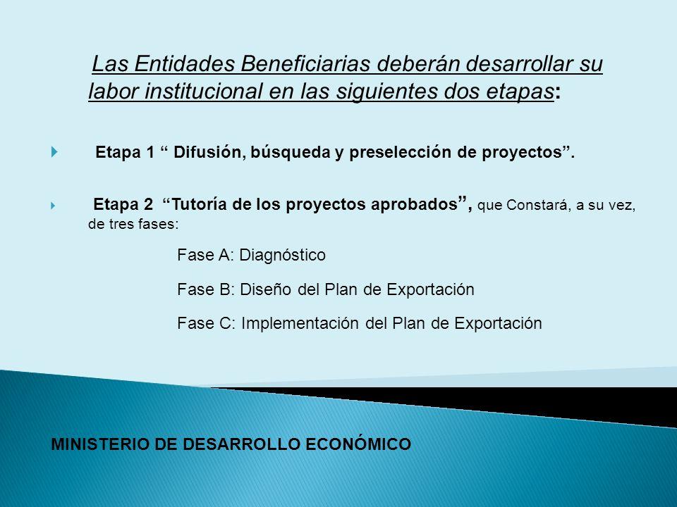 Las Entidades Beneficiarias deberán desarrollar su labor institucional en las siguientes dos etapas: Etapa 1 Difusión, búsqueda y preselección de proyectos.