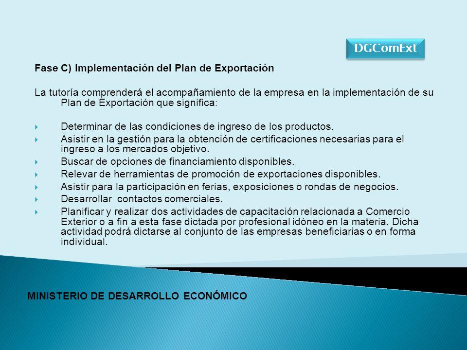 Fase C) Implementación del Plan de Exportación La tutoría comprenderá el acompañamiento de la empresa en la implementación de su Plan de Exportación que significa : Determinar de las condiciones de ingreso de los productos.