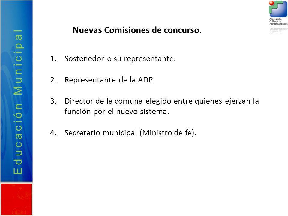 Nuevas Comisiones de concurso. Educación Municipal 1.Sostenedor o su representante. 2.Representante de la ADP. 3.Director de la comuna elegido entre q