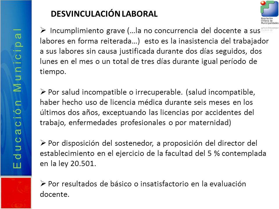 Educación Municipal DESVINCULACIÓN LABORAL Incumplimiento grave (…la no concurrencia del docente a sus labores en forma reiterada…) esto es la inasist
