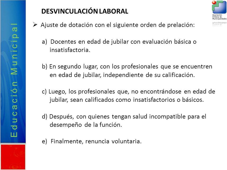 Educación Municipal DESVINCULACIÓN LABORAL Ajuste de dotación con el siguiente orden de prelación: a) Docentes en edad de jubilar con evaluación básic
